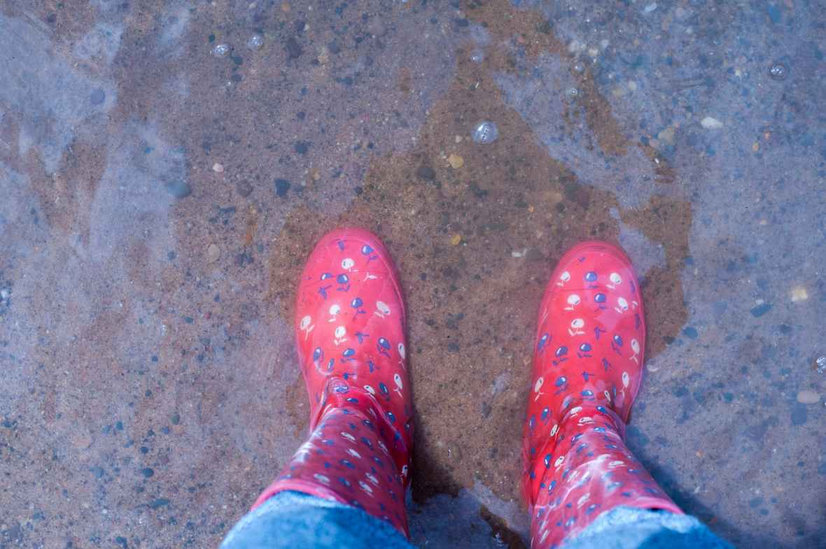 person wearing pink knee high rain boots standing on brown floor
